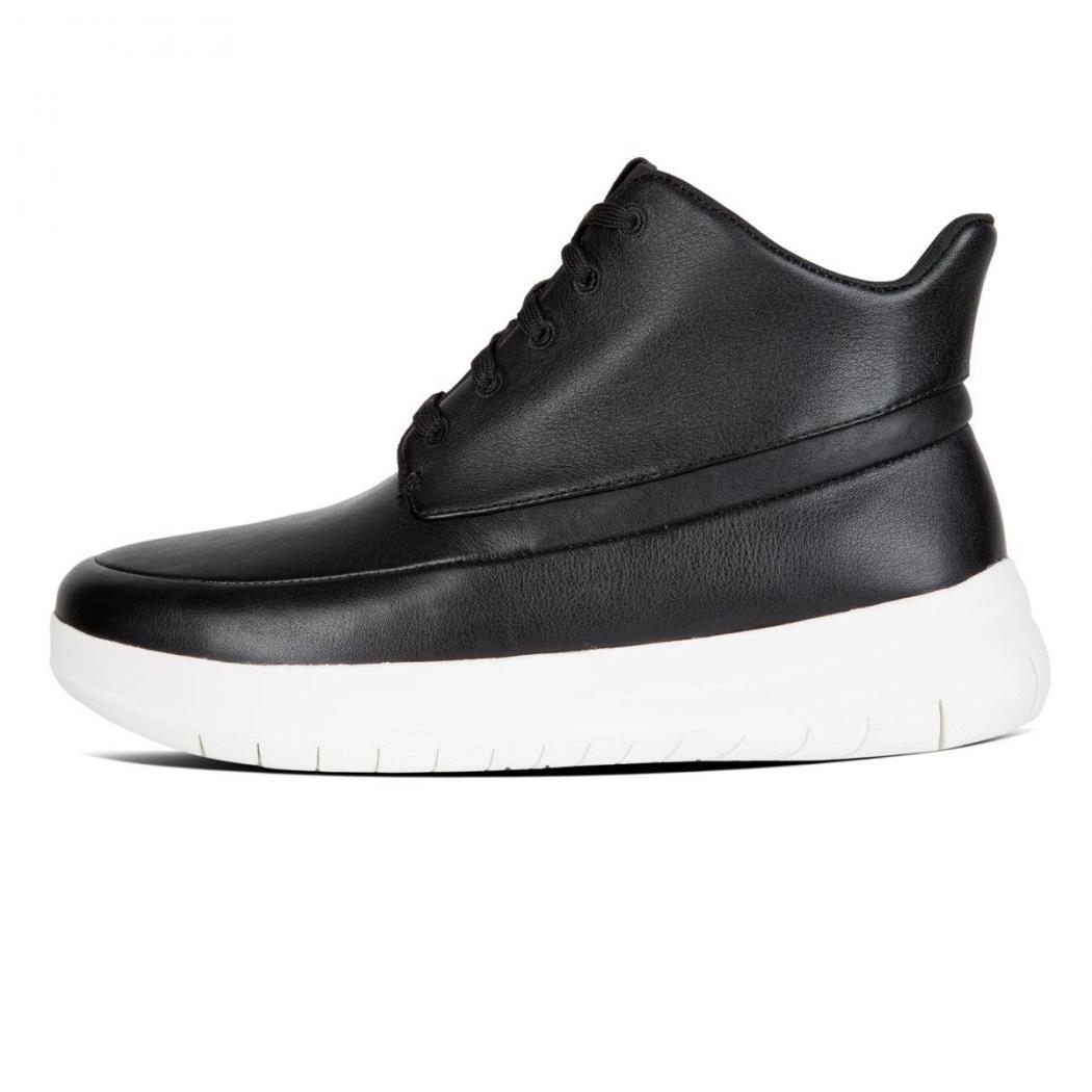 huge discount aabd0 53500 Schwarz - Fitflop SPORTY-POP Hi-Top Sneaker Leder Damen Schwarz • DJB Freren